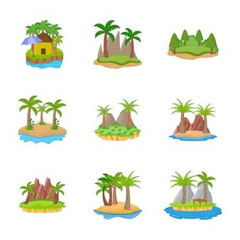Icônes plates différentes îles