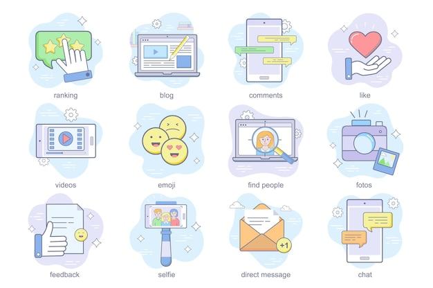 Les icônes plates du concept de médias sociaux définissent un ensemble de commentaires de blog de classement comme des vidéos emoji trouvent des personnes ph ...
