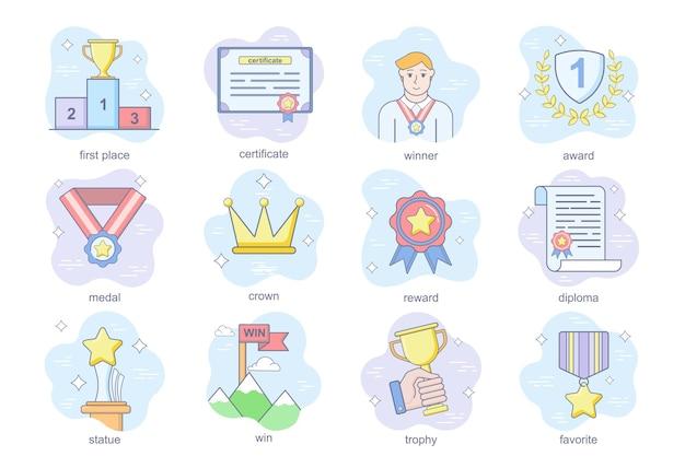 Les icônes plates du concept de récompense d'entreprise définissent un ensemble de diplôme ou de certificat de récompense de couronne de médaille de gagnant de la première place.