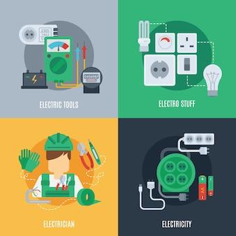 Icônes plates de l'électricité