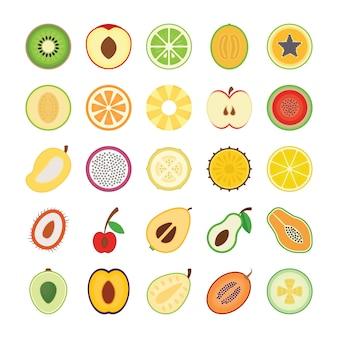 Icônes plates de fruits