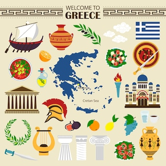 Les icônes plates de la grèce sont les bienvenues dans la collection de voyages en grèce
