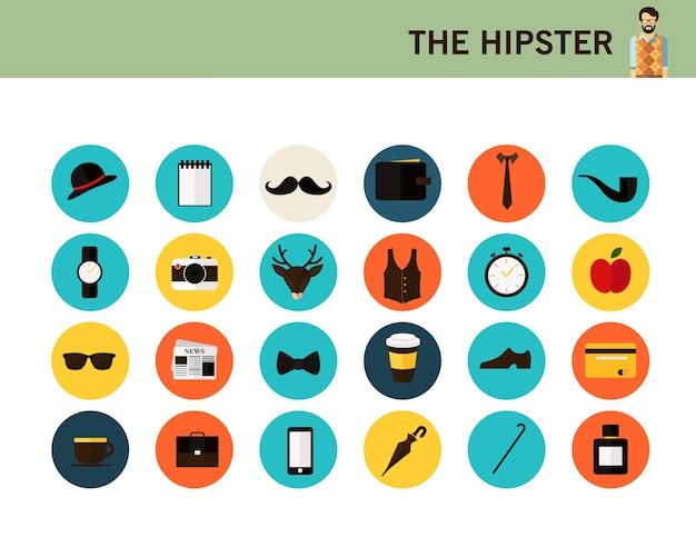 Les icônes plates de hipster consept.
