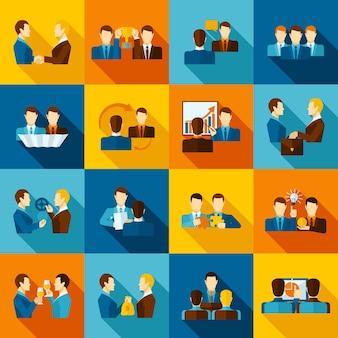 Icônes plates de partenariat