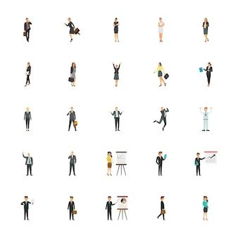 Icônes plates des personnages d'entreprise pour les sites web d'entreprise