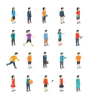 Icônes plates de personnes isométriques