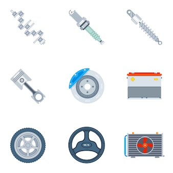 Icônes plates de pièces de rechange de voiture. outil et réparation, conception de moteur et illustration de roue