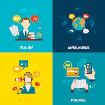 Icônes plates de traduction et de dictionnaire