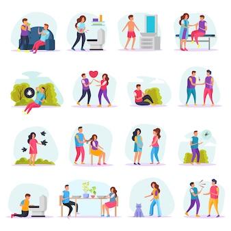 Icônes plates de transmission de maladies définies avec des personnes communiquant avec des malades ou des insectes ou dans un salon de coiffure