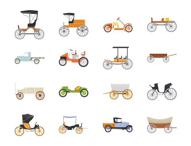 Icônes plates de transport rétro