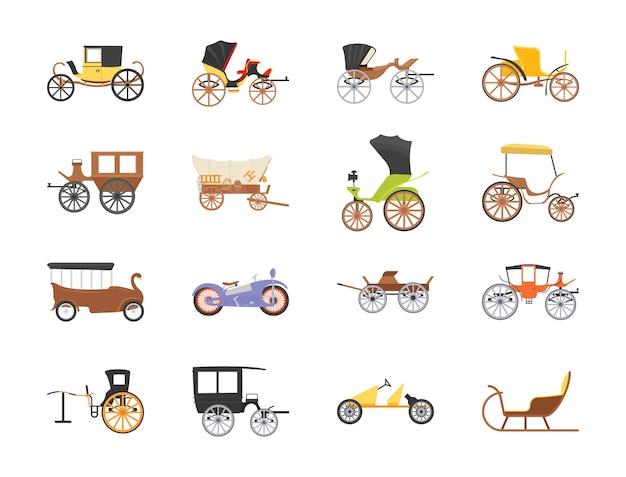 Icônes plates de transport vintage