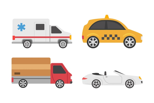 Icônes plates de transporteurs
