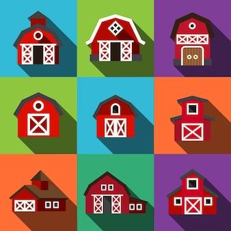 Icônes plates de vecteur de grange. ensemble d'illustrations simples de 9 éléments de grange, icônes modifiables, pouvant être utilisé dans le logo, l'interface utilisateur et la conception web