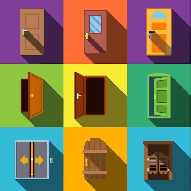 Icônes plates de vecteur de porte. ensemble d'illustrations simples de 9 éléments de porte, icônes modifiables, pouvant être utilisé dans le logo, l'interface utilisateur et la conception web