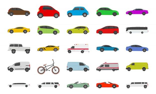 Icônes plates de voiture de ville urbaine