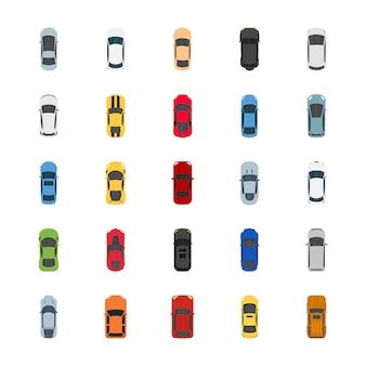 Icônes plates de voitures de couleur populaires