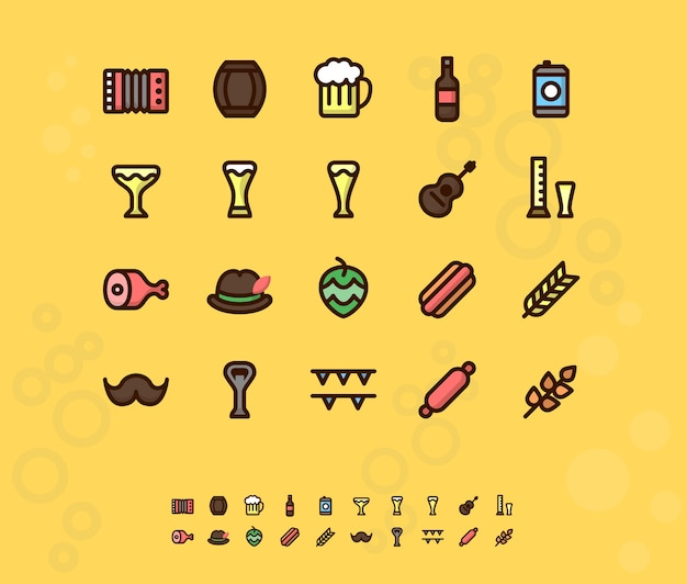 Icônes plats de bière