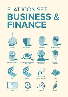 Icônes plats business & finance
