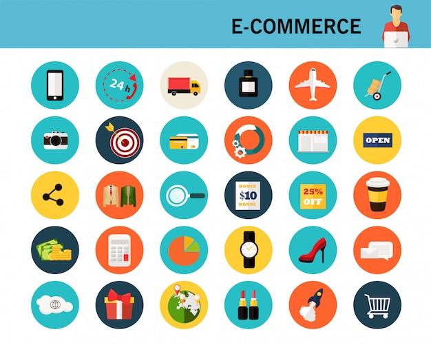 Icônes plats de concept de commerce électronique.