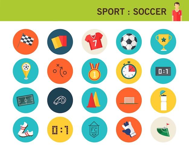 Icônes plats de concept de football de sport.