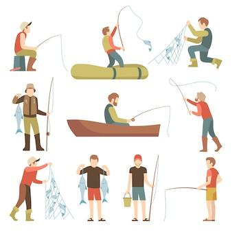 Icônes plats de l'été pêche sport vacances vecteur. pêcheurs avec service à poisson.