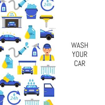 Avec des icônes plats de lavage de voiture et place pour le texte