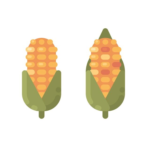 Icônes plats de maïs mûr