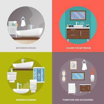 Icônes plats de meubles de salle de bain