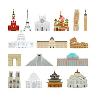 Icônes plats de monuments