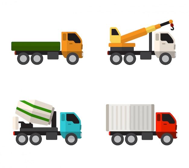 Icônes plats simples de camions de construction