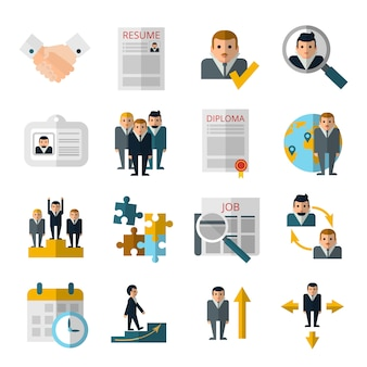 Icônes plats stratégie de recrutement du personnel des ressources humaines sertie de curriculum vitae et diplôme
