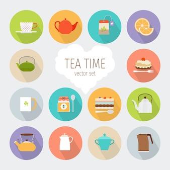 Icônes plats de thé