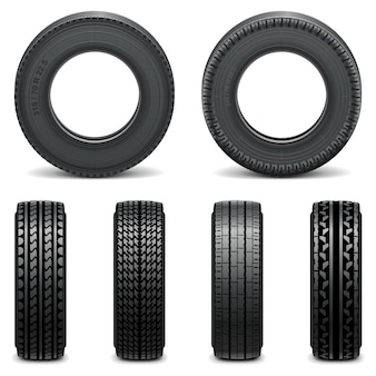 Icônes de pneu de vecteur isolés sur fond blanc