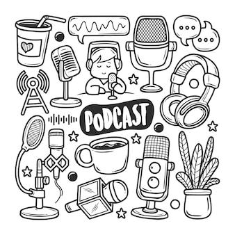 Icônes de podcast doodle dessiné à la main à colorier