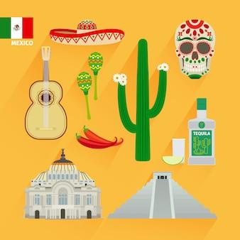 Icônes de points de repère du mexique