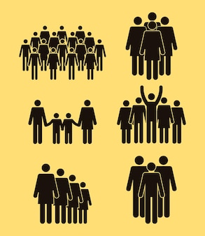 Icônes de la population six silhouettes