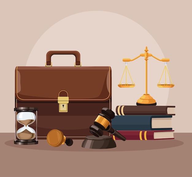 Icônes de portefeuille et de droit