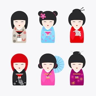 Icônes de poupées kokeshi japonaises