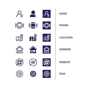 Icônes pour carte de visite