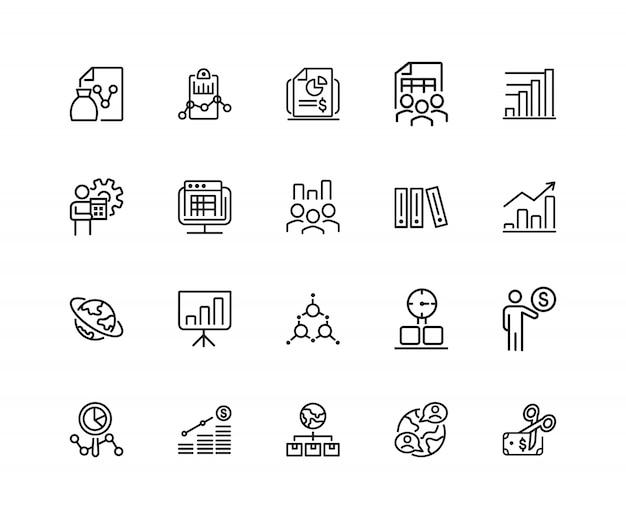 Icônes de présentation ensemble de vingt icônes de ligne. rapport, recherche, diagramme.
