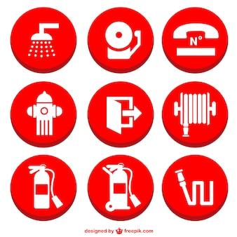 Icônes de prévention des incendies fixés