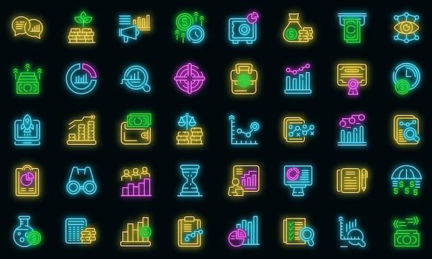 Icônes de prévisions de marché définies néon vectoriel