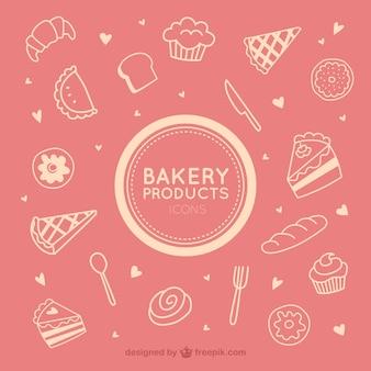 Les icônes des produits de boulangerie
