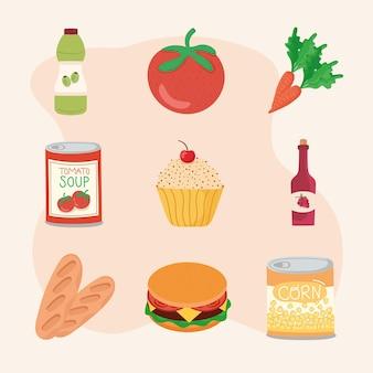 Icônes avec des produits de cuisine