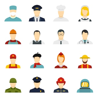 Icônes de professions définies dans un style plat