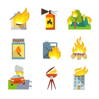 Icônes de protection contre les incendies, ensemble de maisons, forêt, accidents de voiture, illustration vectorielle isolée