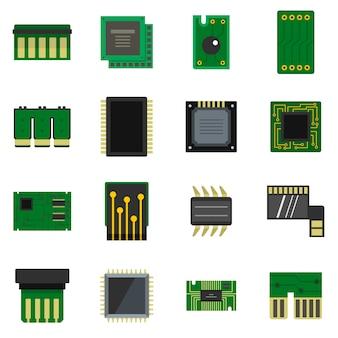 Icônes de puces d'ordinateur définies dans un style plat