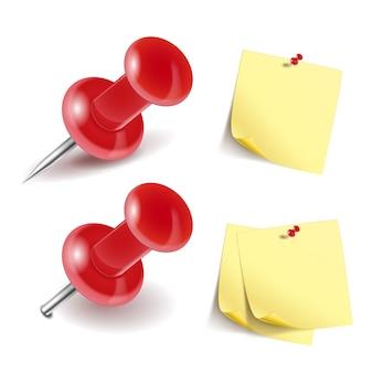 Icônes de punaises et papiers de note isolés