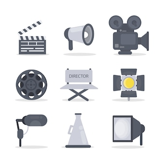 Icônes de réalisateur sertie de caméra et de lumière.