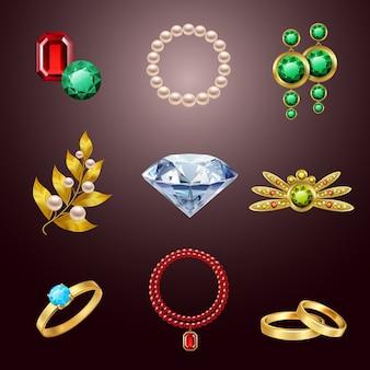 Icônes réalistes bijoux